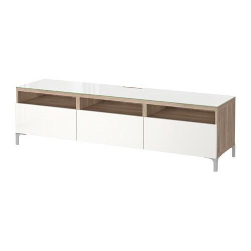 best tv bank mit schubladen grau las nussbaumnachb selsviken hochglanz wei. Black Bedroom Furniture Sets. Home Design Ideas