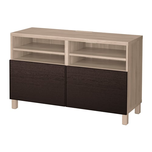 best tv bank mit t ren grau las nussbaumnachb inviken schwarzbraun ikea. Black Bedroom Furniture Sets. Home Design Ideas