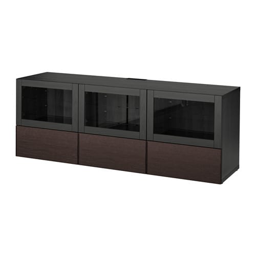 best tv bank mit t ren und schubladen schwarzbraun sindvik inviken klarglas sbr. Black Bedroom Furniture Sets. Home Design Ideas