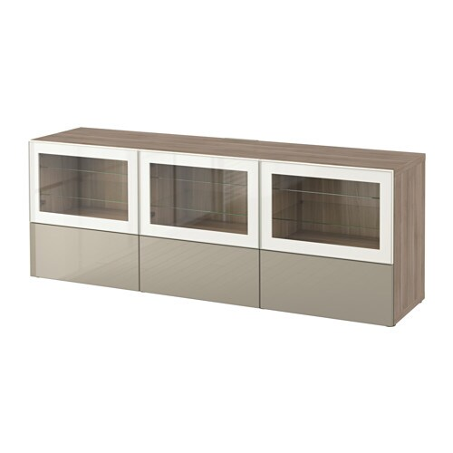 best tv bank mit t ren und schubladen grau las nussbaumnachb selsviken hochgl beige klargl. Black Bedroom Furniture Sets. Home Design Ideas