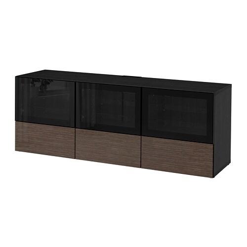 best tv bank mit t ren und schubladen schwarzbraun selsviken hochglanz klarglas braun. Black Bedroom Furniture Sets. Home Design Ideas