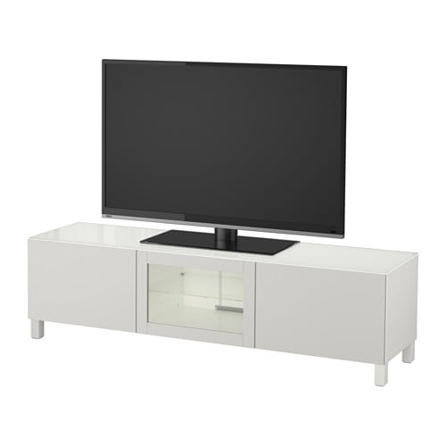 best tv bank mit t ren wei lappviken hellgrau klarglas 180x40x48 cm schubladenschiene. Black Bedroom Furniture Sets. Home Design Ideas