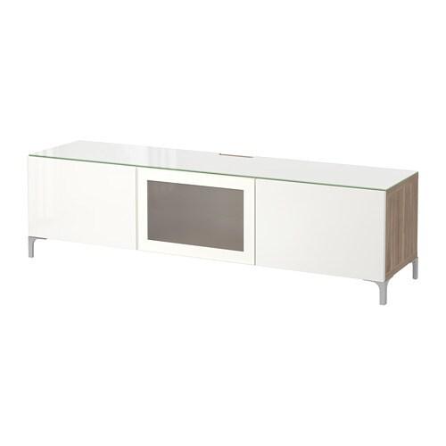 best tv bank mit t ren grau las nussbaumnachb selsviken hochglanz frostglas wei 180x40x38. Black Bedroom Furniture Sets. Home Design Ideas