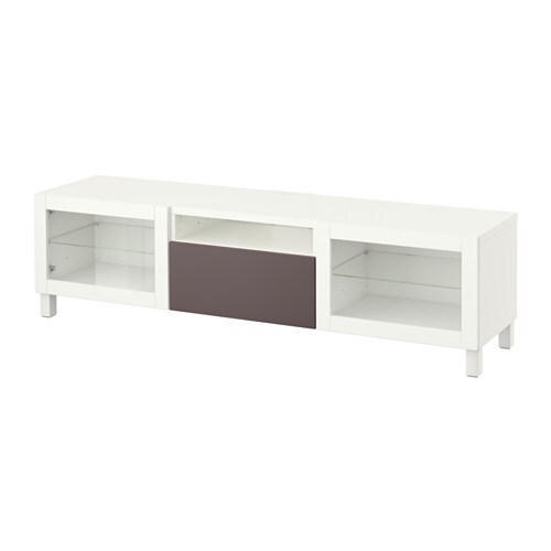 best tv bank wei valviken klargl dbraun schubladenschiene sanft schlie end ikea. Black Bedroom Furniture Sets. Home Design Ideas