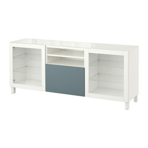 best tv bank wei valviken klargl gra t rk schubladenschiene sanft schlie end ikea. Black Bedroom Furniture Sets. Home Design Ideas
