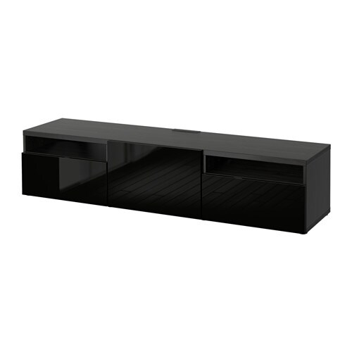 best tv bank schwarzbraun selsviken hochglanz schwarz schubladenschiene sanft schlie end ikea. Black Bedroom Furniture Sets. Home Design Ideas