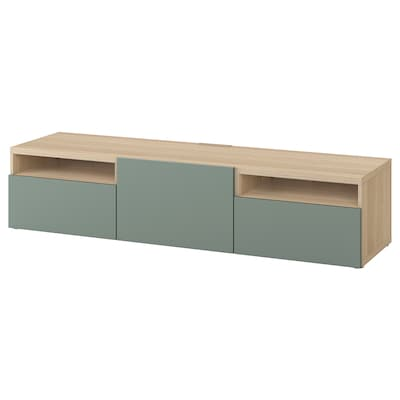 BESTÅ TV-Bank Eicheneff wlas/Notviken graugrün 180 cm 42 cm 39 cm 50 kg