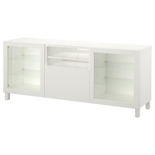 BESTÅ TV-Bank mit Schubladen Lappviken/Sindvik Klarglas weiß 180 cm 40 cm 74 cm 50 kg