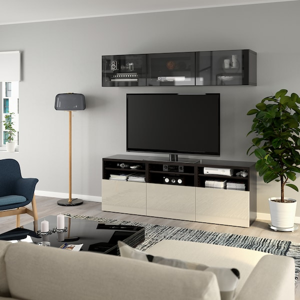 BESTÅ TV-Komb. mit Vitrinentüren, schwarzbraun/Selsviken Hochgl beige Klargl, 180x40x192 cm