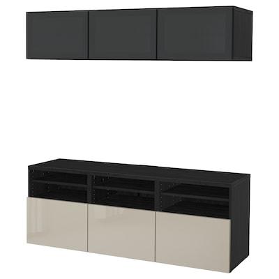 BESTÅ TV-Komb. mit Vitrinentüren, schwarzbraun/Selsviken Hochglanz/beige Rauchglas, 180x42x192 cm
