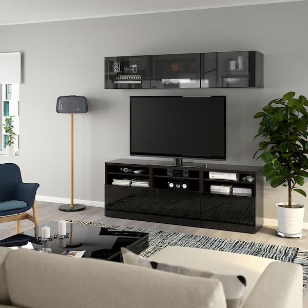 BESTÅ TV-Komb. mit Vitrinentüren, schwarzbraun/Selsviken Hochglanz/Klarglas schwarz, 180x40x192 cm