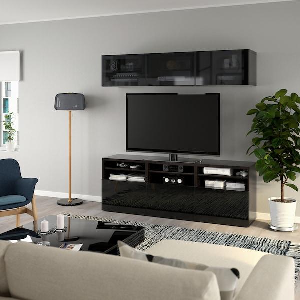 BESTÅ TV-Komb. mit Vitrinentüren, schwarzbraun/Selsviken Hochglanz/Rauchglas schwarz, 180x40x192 cm
