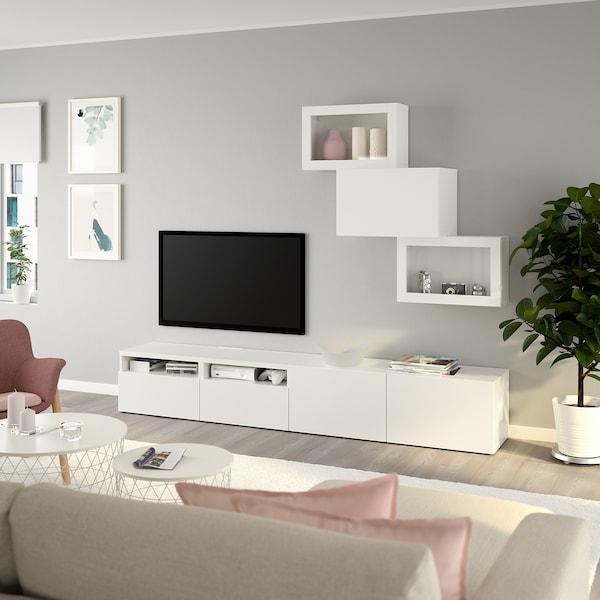 BESTÅ TV-Komb. mit Vitrinentüren, weiß/Lappviken Klarglas weiß, 240x42x190 cm
