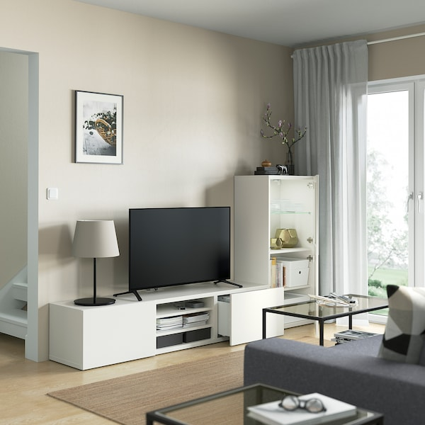 BESTÅ TV-Komb. mit Vitrinentüren, weiß/Lappviken Klarglas weiß, 240x42x129 cm
