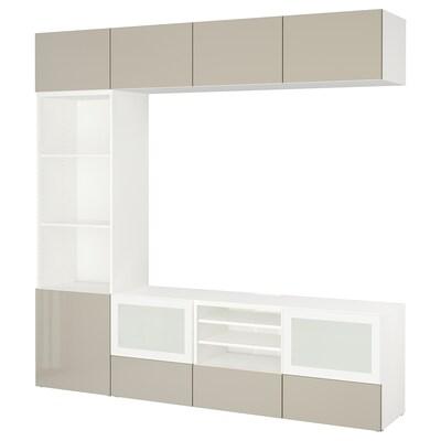 BESTÅ TV-Komb. mit Vitrinentüren, weiß/Selsviken Hochgl beige Frostgl, 240x40x230 cm