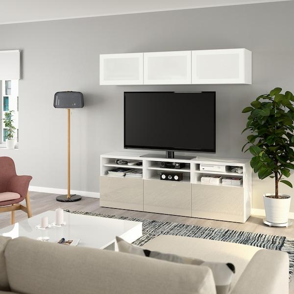 BESTÅ TV-Komb. mit Vitrinentüren, weiß/Selsviken Hochgl beige Frostgl, 180x40x192 cm