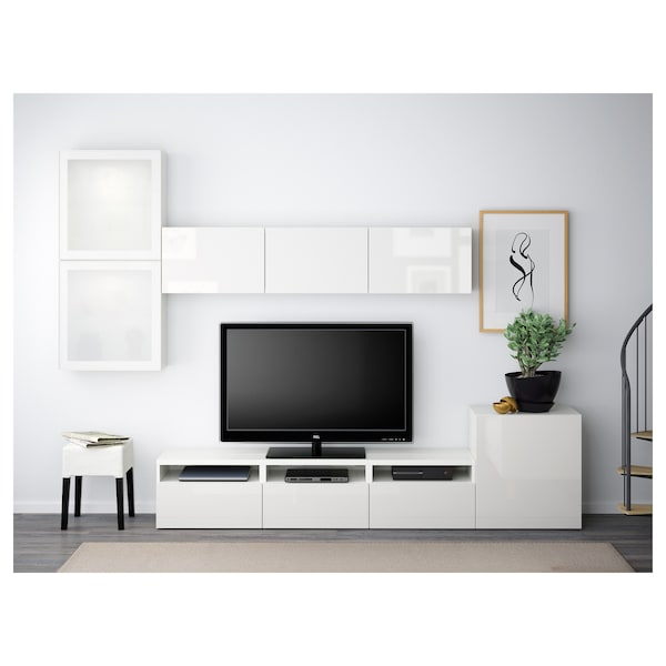 BESTÅ TV-Komb. mit Vitrinentüren, weiß/Selsviken Hochglanz/Frostglas weiß, 300x42x211 cm