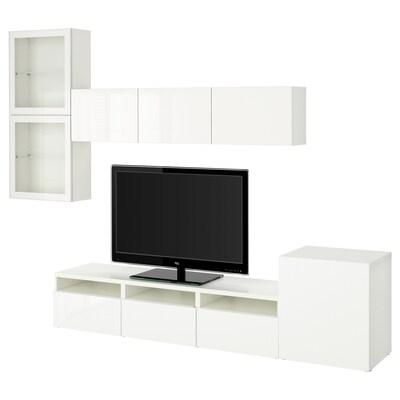 BESTÅ TV-Komb. mit Vitrinentüren, weiß/Selsviken Hochglanz/Klarglas weiß, 300x42x211 cm