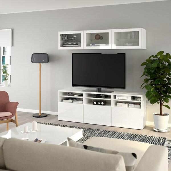 BESTÅ TV-Komb. mit Vitrinentüren, weiß/Selsviken Hochglanz/Klarglas weiß, 180x40x192 cm