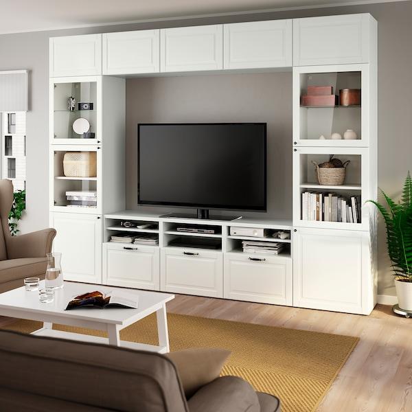 BESTÅ TV-Komb. mit Vitrinentüren, weiß Smeviken/Ostvik Klarglas weiß, 300x42x230 cm