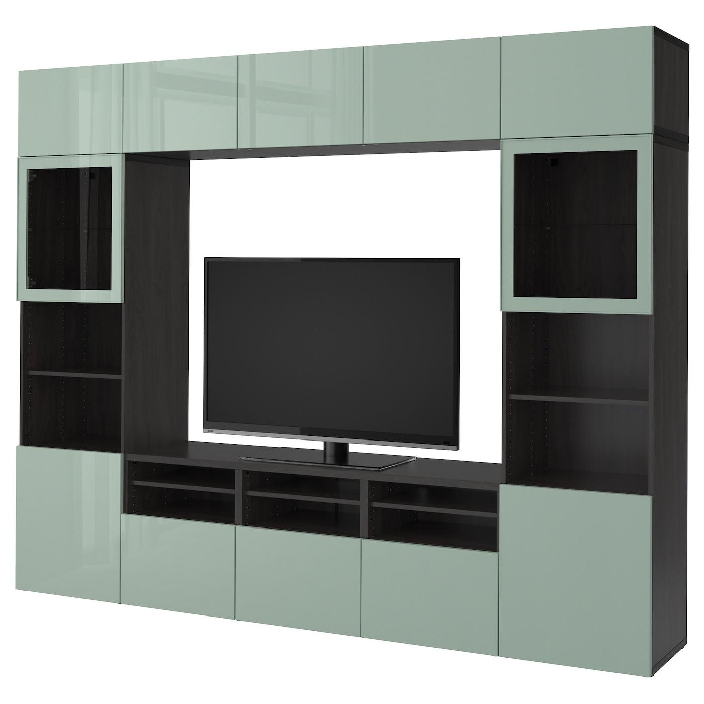 BESTÅ, TV-Komb. mit Vitrinentüren, schwarzbraun Selsviken, schwarzbraun 092.032.82