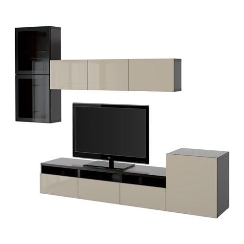 best tv komb mit vitrinent ren schwarzbraun selsviken hochgl beige klargl schubladenschiene. Black Bedroom Furniture Sets. Home Design Ideas