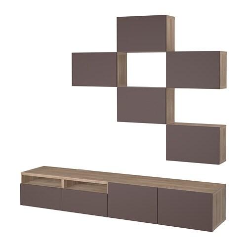 best tv m bel kombination grau las nussbaumnachb valviken dunkelbraun schubladenschiene. Black Bedroom Furniture Sets. Home Design Ideas