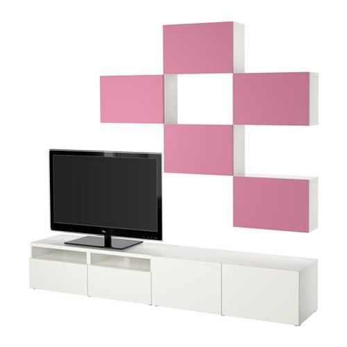 best tv m bel kombination lappviken rosa wei schubladenschiene drucksystem ikea. Black Bedroom Furniture Sets. Home Design Ideas