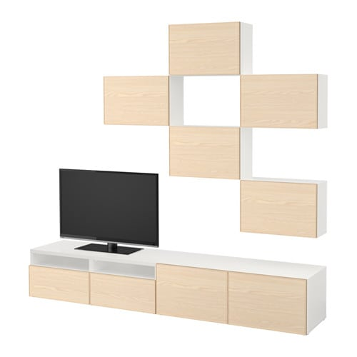 best tv m bel kombination wei inviken eschenfurnier schubladenschiene drucksystem ikea. Black Bedroom Furniture Sets. Home Design Ideas