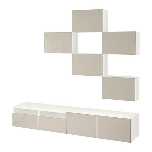 Bestå Tv Möbel Kombination Weißselsviken Hochglanz Beige