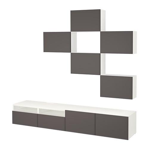 Bestå Tv Möbel Kombination Weiß Grundsviken Dunkelgrau