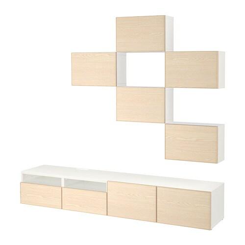 best tv m bel kombination wei inviken eschenfurnier schubladenschiene drucksystem ikea. Black Bedroom Furniture Sets. Home Design Ideas