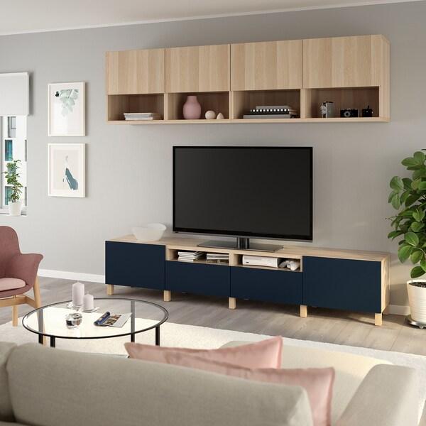 BESTÅ TV-Möbel, Kombination Eicheneff wlas Lappviken/Notviken/Stubbarp blau 240 cm 42 cm 230 cm