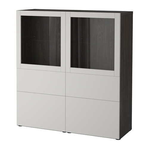 best vitrine schwarzbraun lappviken klarglas h 39 grau schubladenschiene sanft schlie end ikea. Black Bedroom Furniture Sets. Home Design Ideas