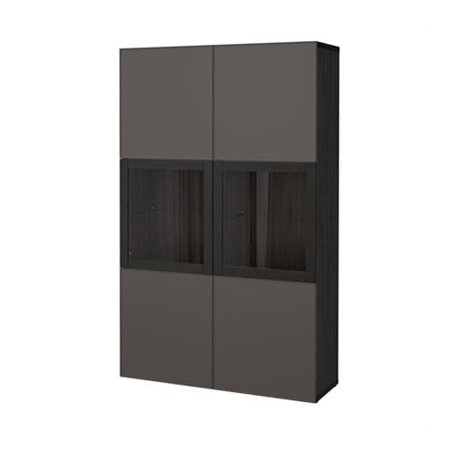 best vitrine schwarzbraun grundsviken klarglas grau ikea. Black Bedroom Furniture Sets. Home Design Ideas