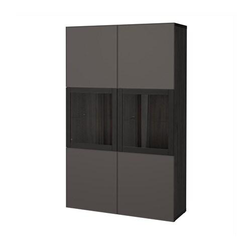 best vitrine schwarzbraun grundsviken klarglas grau ikea. Black Bedroom Furniture Sets. Home Design Ideas