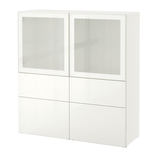 best vitrine wei selsviken hochglanz frostglas wei schubladenschiene sanft schlie end ikea. Black Bedroom Furniture Sets. Home Design Ideas