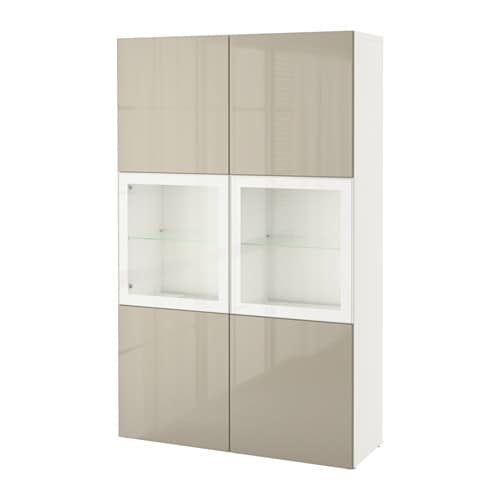 best vitrine wei selsviken hochgl beige klargl ikea. Black Bedroom Furniture Sets. Home Design Ideas