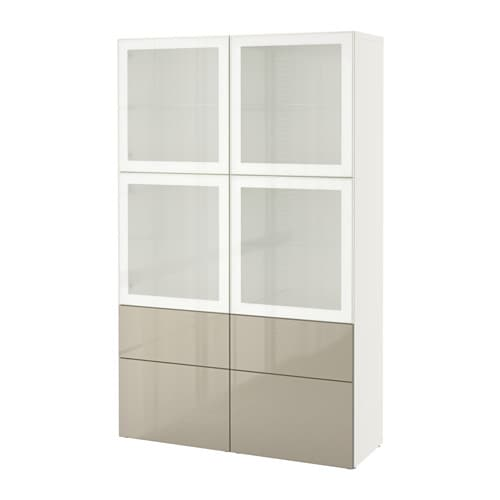 best vitrine wei selsviken hochgl beige frostgl schubladenschiene drucksystem ikea. Black Bedroom Furniture Sets. Home Design Ideas