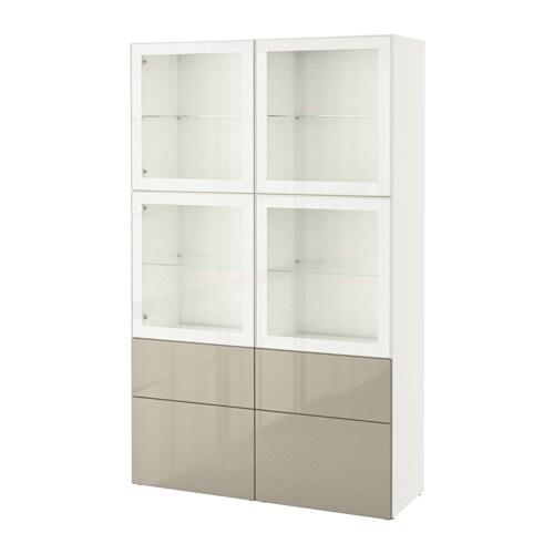 best vitrine wei selsviken hochgl beige klargl schubladenschiene sanft schlie end ikea. Black Bedroom Furniture Sets. Home Design Ideas