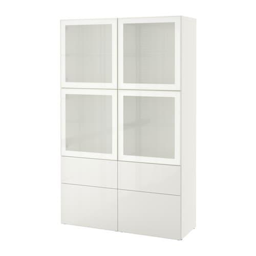 best vitrine wei selsviken hochglanz frostglas wei schubladenschiene sanft schlie end ikea. Black Bedroom Furniture Sets. Home Design Ideas