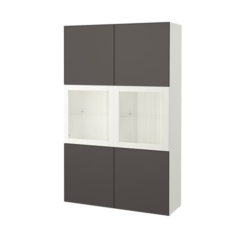 best vitrine wei grundsviken klarglas grau ikea. Black Bedroom Furniture Sets. Home Design Ideas