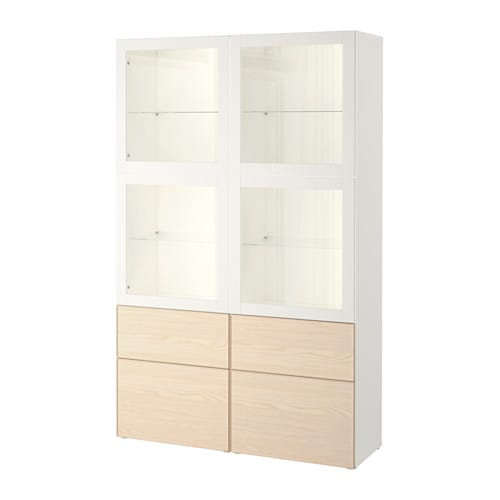 best vitrine wei sindvik inviken eschenfurnier schubladenschiene sanft schlie end ikea. Black Bedroom Furniture Sets. Home Design Ideas