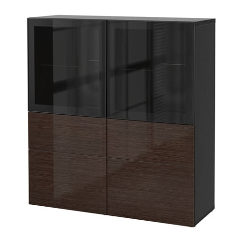 best vitrine schwarzbraun selsviken hochglanz klarglas braun schubladenschiene drucksystem. Black Bedroom Furniture Sets. Home Design Ideas