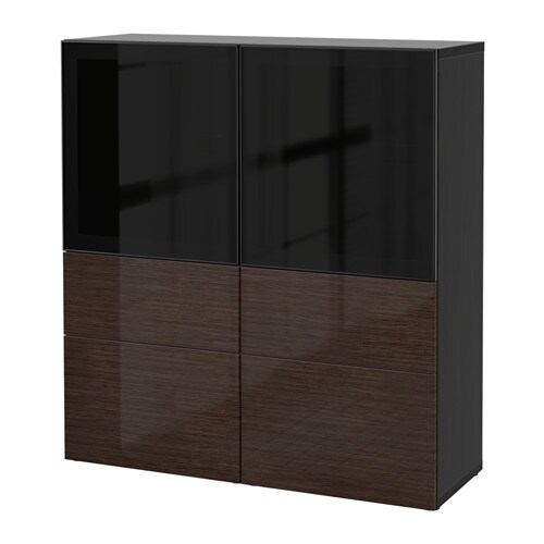 best vitrine schwarzbraun selsviken hochglanz rauchglas braun schubladenschiene sanft. Black Bedroom Furniture Sets. Home Design Ideas