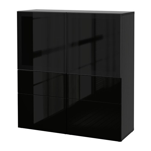 best vitrine schwarzbraun selsviken hochglanz rauchglas schwarz schubladenschiene. Black Bedroom Furniture Sets. Home Design Ideas