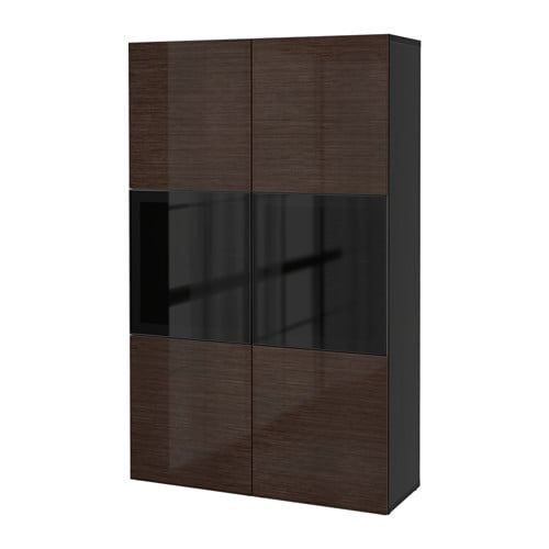 best vitrine schwarzbraun selsviken hochglanz rauchglas braun ikea. Black Bedroom Furniture Sets. Home Design Ideas