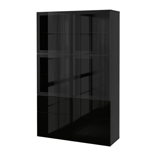 best vitrine schwarzbraun selsviken hochglanz klarglas schwarz schubladenschiene. Black Bedroom Furniture Sets. Home Design Ideas