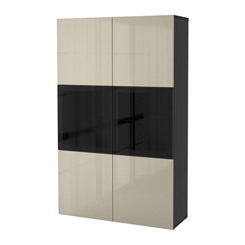 best vitrine schwarzbraun selsviken hochgl beige klargl. Black Bedroom Furniture Sets. Home Design Ideas