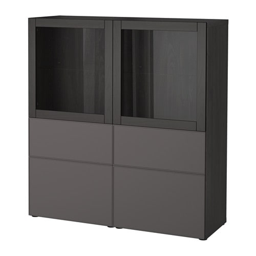 best vitrine schwarzbraun grundsviken dunkelgrau klarglas schubladenschiene sanft. Black Bedroom Furniture Sets. Home Design Ideas